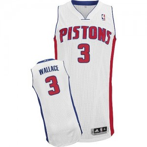 Maillot NBA Detroit Pistons #3 Ben Wallace Blanc Adidas Authentic Home - Homme