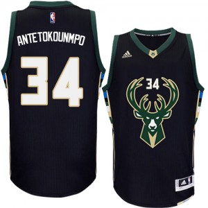 Maillot Adidas Noir Alternate Authentic Milwaukee Bucks - Giannis Antetokounmpo #34 - Homme