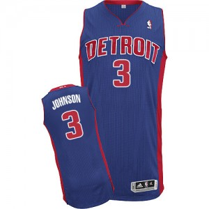 Maillot Adidas Bleu royal Road Authentic Detroit Pistons - Stanley Johnson #3 - Homme