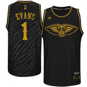 Maillot NBA Noir Tyreke Evans #1 New Orleans Pelicans Precious Metals Fashion Swingman Homme Adidas