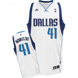Maillot NBA Dallas Mavericks #41 Dirk Nowitzki Blanc Adidas Swingman Home - Enfants