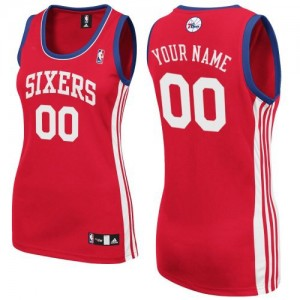 Maillot Adidas Rouge Road Philadelphia 76ers - Authentic Personnalisé - Femme