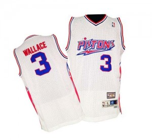 Maillot NBA Detroit Pistons #3 Ben Wallace Blanc Adidas Authentic Throwback - Homme