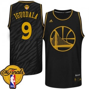 Maillot NBA Authentic Andre Iguodala #9 Golden State Warriors Precious Metals Fashion 2015 The Finals Patch Noir - Homme