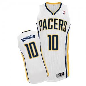 Indiana Pacers #10 Adidas Home Blanc Authentic Maillot d'équipe de NBA vente en ligne - Chase Budinger pour Homme