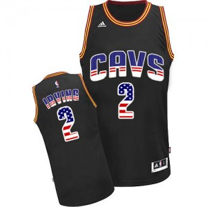 Maillot NBA Noir Kyrie Irving #2 Cleveland Cavaliers USA Flag Fashion Authentic Homme Adidas