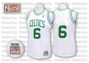Maillot NBA Boston Celtics #6 Bill Russell Blanc Mitchell and Ness Authentic Throwback - Homme