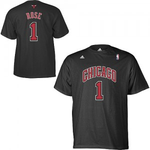 Tee-Shirt NBA Noir Derrick Rose #1 Chicago Bulls Game Time Homme Adidas