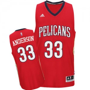 Maillot NBA Rouge Ryan Anderson #33 New Orleans Pelicans Alternate Authentic Homme Adidas