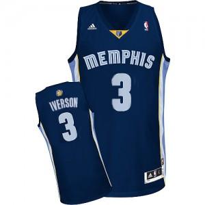 Maillot Authentic Memphis Grizzlies NBA Road Bleu marin - #3 Allen Iverson - Homme