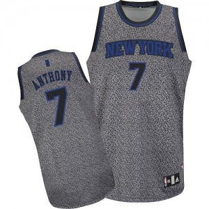 Maillot Adidas Gris Static Fashion Authentic New York Knicks - Carmelo Anthony #7 - Homme