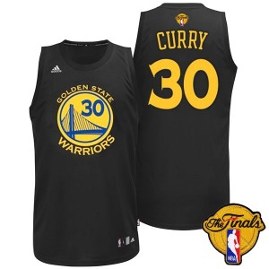 Maillot NBA Golden State Warriors #30 Stephen Curry Noir Adidas Swingman Fashion 2015 The Finals Patch - Homme