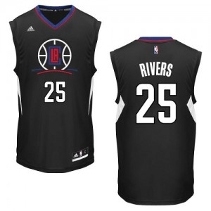 Maillot NBA Noir Austin Rivers #25 Los Angeles Clippers Alternate Authentic Homme Adidas