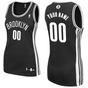 Maillot Adidas Noir Road Brooklyn Nets - Authentic Personnalisé - Femme