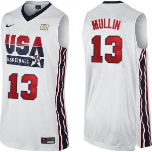 Team USA Nike Chris Mullin #13 2012 Olympic Retro Authentic Maillot d'équipe de NBA - Blanc pour Homme
