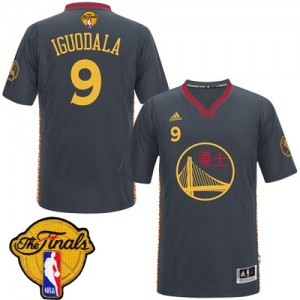 Maillot Adidas Noir Slate Chinese New Year 2015 The Finals Patch Authentic Golden State Warriors - Andre Iguodala #9 - Homme