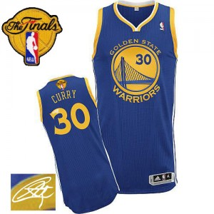 Maillot Adidas Bleu royal Road Autographed 2015 The Finals Patch Authentic Golden State Warriors - Stephen Curry #30 - Homme