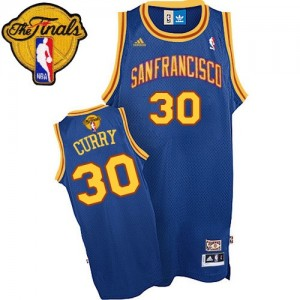 Maillot Adidas Bleu royal Throwback San Francisco 2015 The Finals Patch Authentic Golden State Warriors - Stephen Curry #30 - Homme