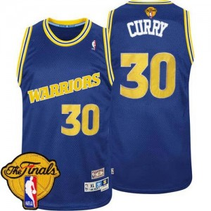 Maillot Swingman Golden State Warriors NBA Throwback Day 2015 The Finals Patch Bleu - #30 Stephen Curry - Homme