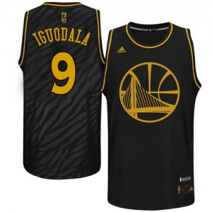 Maillot NBA Golden State Warriors #9 Andre Iguodala Noir Adidas Authentic Precious Metals Fashion - Homme