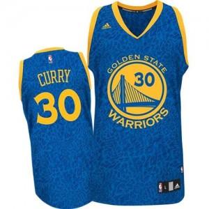Maillot NBA Bleu Stephen Curry #30 Golden State Warriors Crazy Light Authentic Homme Adidas