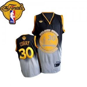 Maillot NBA Gris noir Stephen Curry #30 Golden State Warriors Fadeaway Fashion 2015 The Finals Patch Authentic Homme Adidas