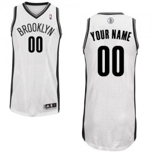 Maillot Adidas Blanc Home Brooklyn Nets - Authentic Personnalisé - Homme