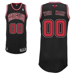 Maillot Adidas Noir Alternate Chicago Bulls - Authentic Personnalisé - Enfants