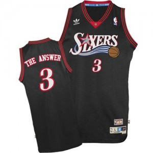 "Maillot Authentic Philadelphia 76ers NBA ""The Answer"" Throwback Noir - #3 Allen Iverson - Homme"