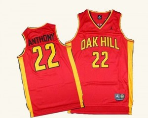 New York Knicks #22 Adidas Oak Hill Academy High School Rouge Authentic Maillot d'équipe de NBA Vente pas cher - Carmelo Anthony pour Homme