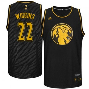 Maillot Adidas Noir Precious Metals Fashion Authentic Minnesota Timberwolves - Andrew Wiggins #22 - Homme