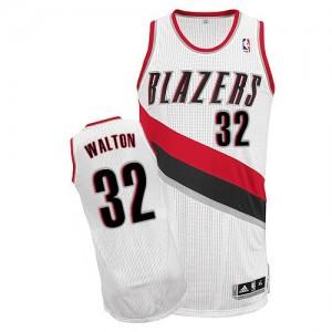Maillot NBA Portland Trail Blazers #32 Bill Walton Blanc Adidas Authentic Home - Homme