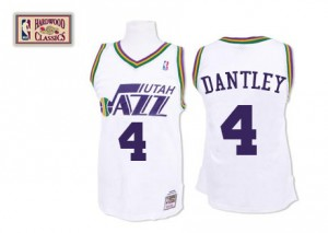 Utah Jazz Mitchell and Ness Adrian Dantley #4 Throwback Authentic Maillot d'équipe de NBA - Blanc pour Homme
