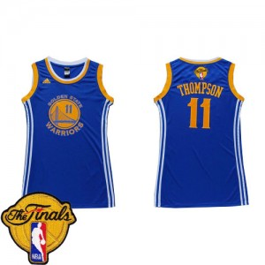 Maillot NBA Authentic Klay Thompson #11 Golden State Warriors Dress 2015 The Finals Patch Bleu - Femme