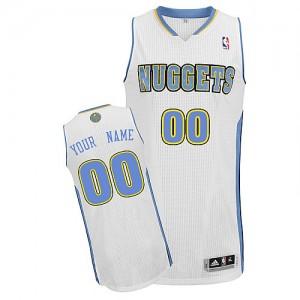 Maillot NBA Denver Nuggets Personnalisé Authentic Blanc Adidas Home - Enfants