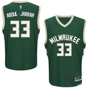 Maillot Adidas Vert Road Authentic Milwaukee Bucks - Kareem Abdul-Jabbar #33 - Homme