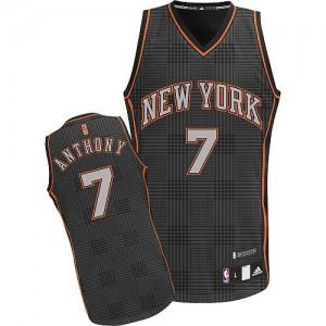 Maillot NBA New York Knicks #7 Carmelo Anthony Noir Adidas Authentic Rhythm Fashion - Homme