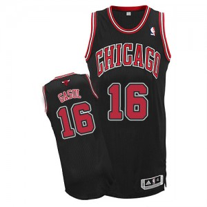 Maillot NBA Noir Pau Gasol #16 Chicago Bulls Alternate Authentic Enfants Adidas