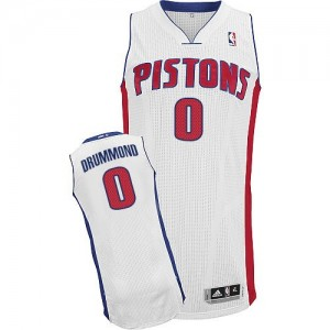 Maillot NBA Blanc Andre Drummond #0 Detroit Pistons Home Authentic Homme Adidas