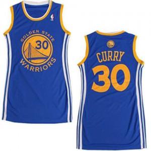 Maillot Authentic Golden State Warriors NBA Dress Bleu - #30 Stephen Curry - Femme