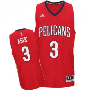 New Orleans Pelicans #3 Adidas Alternate Rouge Authentic Maillot d'équipe de NBA 100% authentique - Omer Asik pour Homme