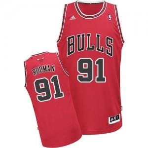 Maillot NBA Rouge Dennis Rodman #91 Chicago Bulls Road Swingman Homme Adidas