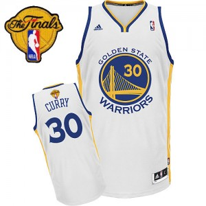 Maillot Adidas Blanc Home 2015 The Finals Patch Swingman Golden State Warriors - Stephen Curry #30 - Homme