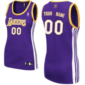 Maillot NBA Violet Authentic Personnalisé Los Angeles Lakers Road Femme Adidas