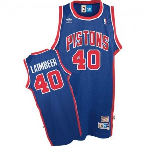 Detroit Pistons Bill Laimbeer #40 Throwback Authentic Maillot d'équipe de NBA - Bleu pour Homme