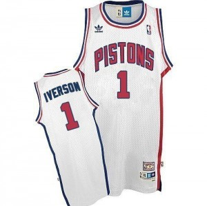 Maillot Adidas Blanc Throwback Authentic Detroit Pistons - Allen Iverson #1 - Homme