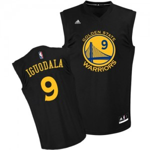 Maillot NBA Golden State Warriors #9 Andre Iguodala Noir Adidas Authentic Fashion - Homme