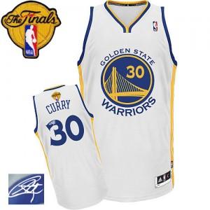 Golden State Warriors Stephen Curry #30 Home Autographed 2015 The Finals Patch Authentic Maillot d'équipe de NBA - Blanc pour Homme