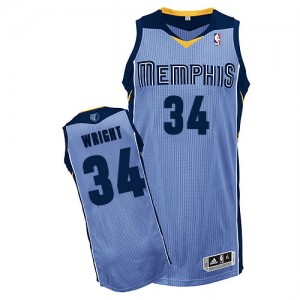 Memphis Grizzlies Brandan Wright #34 Alternate Authentic Maillot d'équipe de NBA - Bleu clair pour Homme