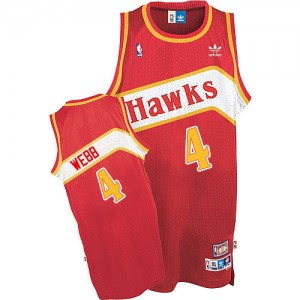 Maillot NBA Rouge Spud Webb #4 Atlanta Hawks Throwback Authentic Homme Adidas